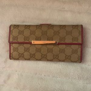Authentic Gucci GG canvas long wallet
